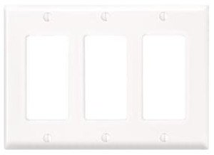3-Gang Plastic Rocker Switch Wall Plate, White