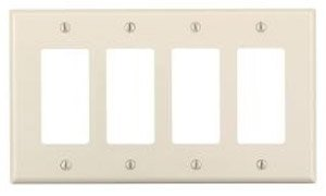 4-Gang Plastic Rocker Switch Wall Plate, Almond