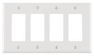 4-Gang Plastic Rocker Switch Wall Plate, White
