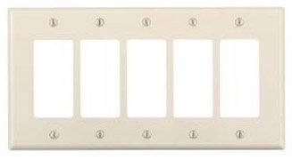 5-Gang Plastic Rocker Switch Wall Plate, Almond