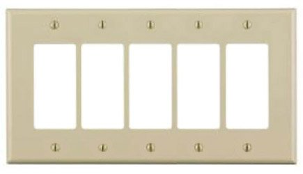 5-Gang Plastic Rocker Switch Wall Plate, Ivory