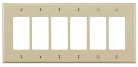 6-Gang Plastic Rocker Switch Wall Plate, Ivory