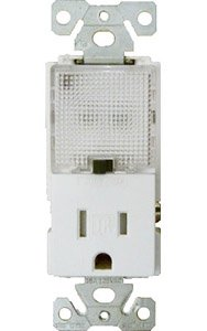 15 Amp Receptacle Outlet w/ Nightlight, White