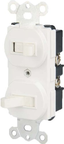 15 Amp Single Pole Double Toggle Switch, white