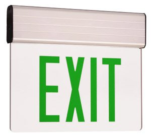 Edge Lit Double Face LED Exit Sign w/ Aluminum Housing, Green Letter