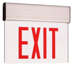 Edge Lit Double Face LED Exit Sign w/ Aluminum Housing, Red Letter