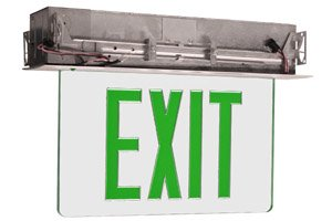 Edge Lit Recessed Exit Sign w/ Aluminum Housing, Green Letter