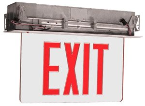 Edge Lit Recessed Exit Sign w/ Aluminum Housing, Red Letter
