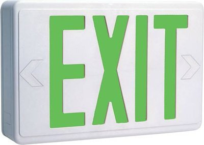 White LED Exit Sign w/ Green Letter & Battery Backup