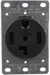 30 Amp Flush Mount Dryer Outlet Black
