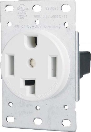 30 Amp Flush Mount Dryer Outlet White