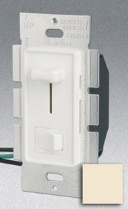 Single Pole 600W Slide Dimmer w/ Rocker Switch, Almond
