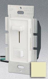 Single Pole 1000W Slide Dimmer w/ Rocker Switch, Ivory