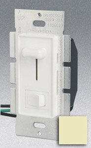 Single Pole 600W Slide Dimmer w/ Rocker Switch, Ivory