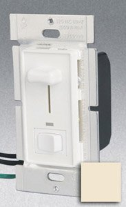Single Pole 600W Slide Dimmer w/ LED & Rocker Switch, Almond