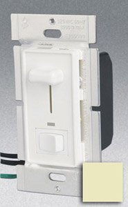 Single Pole 600W Slide Dimmer w/ LED & Rocker Switch, Ivory