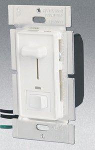 Single Pole 700W Slide Dimmer w/ LED & Rocker Switch, White