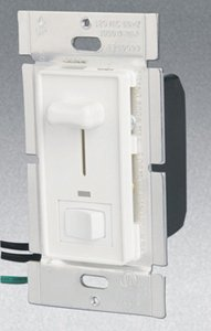 Single Pole 600W Slide Dimmer w/ LED & Rocker Switch, White