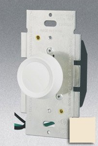 Single Pole 600W Rotary Dimmer w/ Push On/Off Switch, Almond