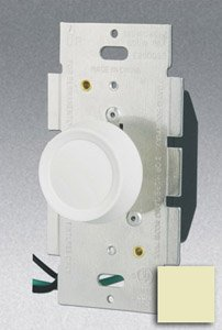 Single Pole 600W Rotary Dimmer w/ Push On/Off Switch, Ivory