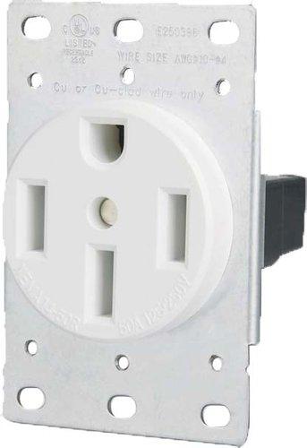 50 Amp Flush Mount Dryer Outlet, White
