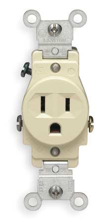15 Amp Single Receptacle Outlet, Ivory