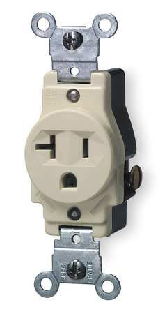 20 Amp Single Receptacle Outlet, Ivory