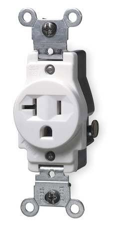 20 Amp Single Receptacle Outlet, White