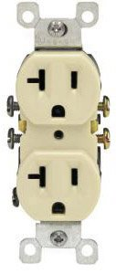 20 Amp Self Grounding Tamper Resistant (TR) Receptacle Outlet, Ivory
