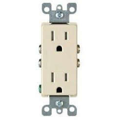 15 Amp Self Grounding Tamper Resistant (TR) Decora Receptacle Outlet, Ivory