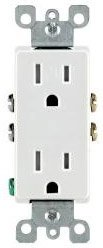 15 Amp Decora Duplex Receptacle Outlet, White