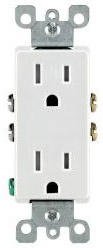 15 Amp Tamper Resistant Decora Self-Grounding (TR) Duplex Receptacle Outlet, White