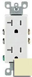 20 Amp Self Grounding Tamper Resistant (TR) Decora Receptacle Outlet, Almond