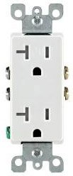 20 Amp Self Grounding Tamper Resistant (TR) Decora Receptacle Outlet, White