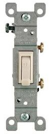 15 Amp Single Pole Toggle Switch, Ivory