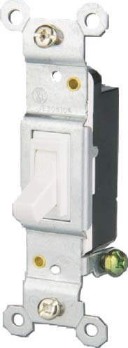 15 Amp Single Pole Toggle Switch, White