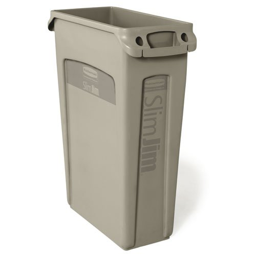Slim Jim Beige Recycling Container w/ Venting Channels