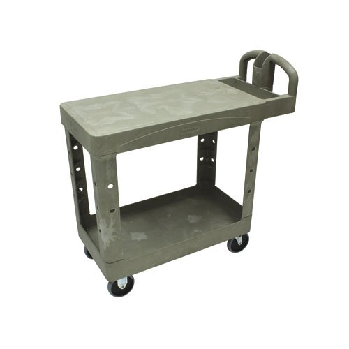 Beige 250 lb Capacity 2 Flat Shelf Heavy-Duty Utility Cart