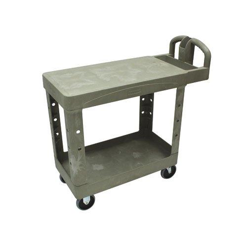 Black 500 lb Capacity 2 Flat Shelf Heavy-Duty Utility Cart