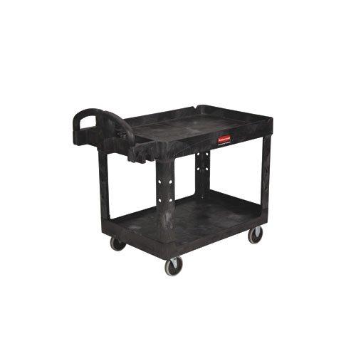 Black 750 lb Capacity 2-Shelf Utility Cart w/ Pneumatic Caster