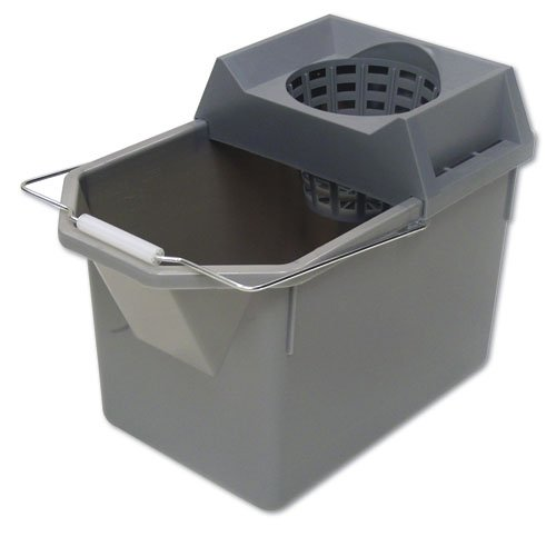 Gray Plastic 15 oz. Pail & Mop Strainer Combination