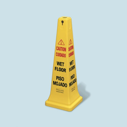 """Yellow """"Caution Wet Floor"""" Safety Cone 17X12-1/4X36"""
