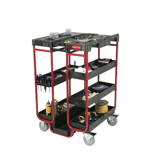 Black/Red 500 lb Capacity Ladder Cart w/ Open Ends
