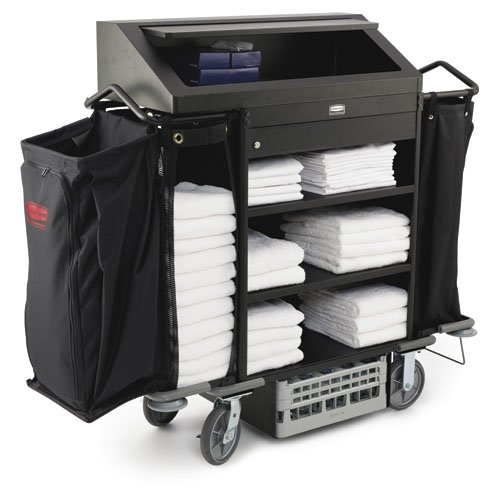 Black Deluxe High-Security Metal Housekeeping Cart