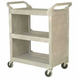 Beige Three Shelf Service Cart w/ Brushed Aluminum Uprights