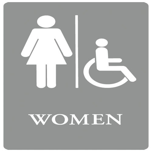 "Gray/White ""Women Handicap"" ADA Sign 6X9"