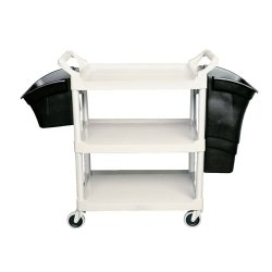 Black Utility 3-Shelf Cart Bin