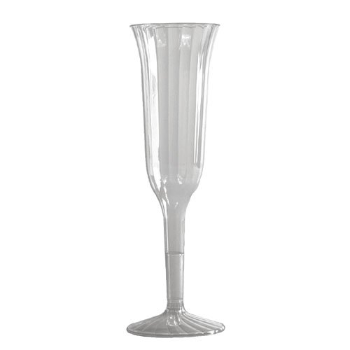Classic Crystal Clear Hard Plastic 5 oz. Champagne Flutes