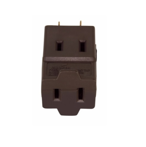 15 Amp Cube Tap, NEMA 1-15R, Polarized, Brown