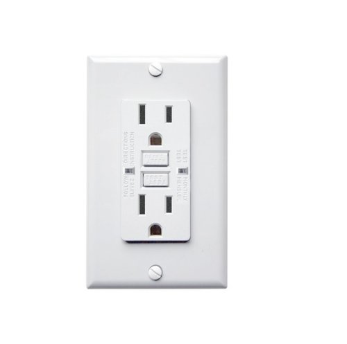 15 Amp GFCI Receptacle Outlet with LED, White